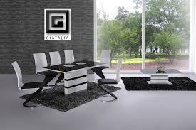 K White Black Glass Designer EXTENDING Dining Table Only OR With - Black glass dining room sets