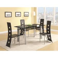 coaster furniture 121051 fontana dining table in silver metal