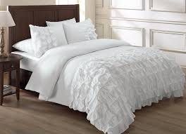solid white comforter set chezmoi collection ella 3 piece waterfall ruffle duvet cover set