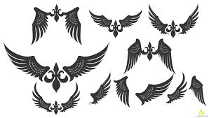 tribal wings tattoos design free vector u0026 clipart design