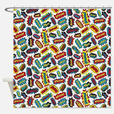Words Shower Curtain Comic Book Shower Curtains Cafepress