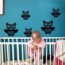 chambre hibou de bande dessinée hibou noir brun oiseaux stickers muraux