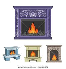 Flame And Comfort Fireplace Flat Style Isolated On White Stock Vector 398526523