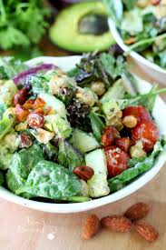 Garden Salad Ideas Mixed Veggie Chickpea Salad With Vegan Avocado Ranch Dressing