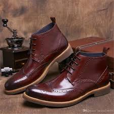 luxury wine red mens short boots full grain leather shoes
