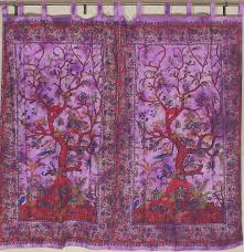 tree of life curtains block print indian home decor tab window