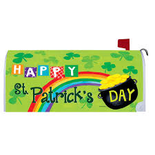 Wall Mount Mailbox With Flag St Patrick U0027s Day Mailbox Cover Flag Gold St Patrick U0027s