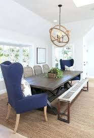 blue dining table set room white chairs fabric chair slipcovers