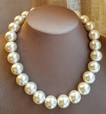 large pearl necklace images Chunky pearl necklace large pearl bridal necklace boho jpg