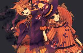 anime girls vocaloid kagamine len rin halloween walldevil