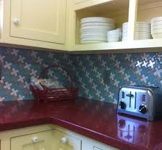 kitchen great brown diagonal tile kitchen backsplash with red