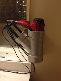 curling iron wall mount pvc pipe hair dryer and curling iron straightener holder for the