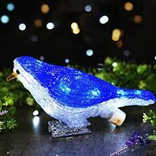 bright zeal decorative led blue bird sculptures lights garden