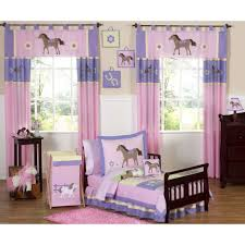 pink and blue girls bedding maple wood toddler bed with pink flower pattern mixed plain blue