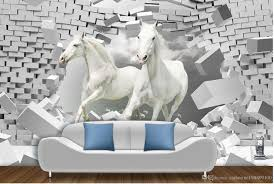 3d Murals by High Quality Customize Size Modern Horse 3d Creative Space