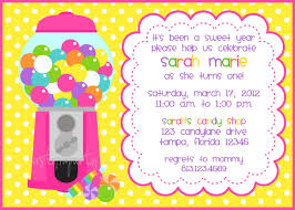 bubble gum machine candy shop invitation for girls set of
