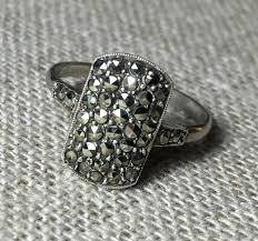 art deco rectangular sterling silver marcasite ring from