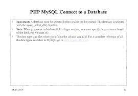 varchar date format php 15 10 20151 php mysql slide materials are based on w3schools php