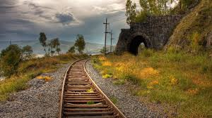 old rails entering in a tunnel hd nature landscape