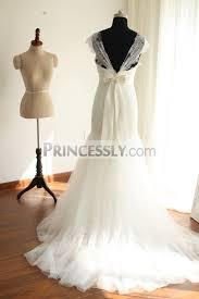 cap sleeves ivory lace tulle mermaid wedding dress