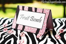 pink glitter zebra food cards printable digital download for a diy
