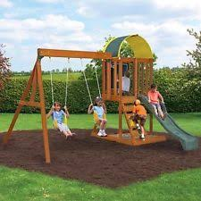 Backyard Playground Slides by Wooden Playland Swing Set Kids Fort Clubhouse Slide Fun Center