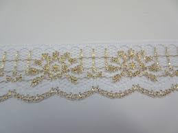 gold lace ribbon gold and white lace trim ribbon glitter lace sparkle 1