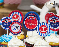 nautical party supplies nautical mickey inspired cupcake toppers nautical party decor