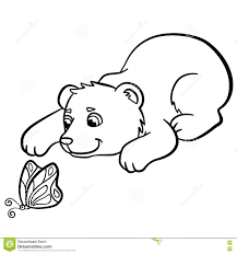 coloring pages wild animals little cute baby bear stock vector