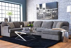 3 sectional sofa with chaise loric smoke 3 sectional w raf chaise living spaces