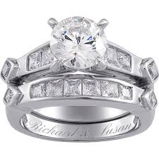 diamond wedding ring sets for sterling silver 6 6 carat t g w cubic zirconia 2 wedding