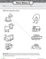 matching rhyming words worksheets rhyming words and pre