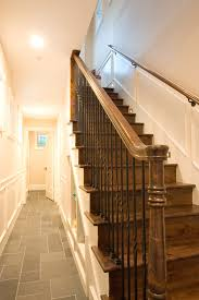 Stone Banister Handrail Brackets Staircase Traditional With Dark Floor Metal