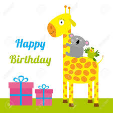 happy birthday card with cute giraffe koala and parrot giftbox