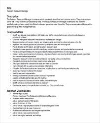 Restaurant Manager Resume Examples by 100 Assessor Resumes Free Resume Cv Templates Freebies