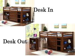 roll out computer desk roll out desk twin low loft available in 3 finishes girls bunk beds