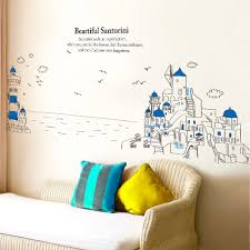 wall sticker picture more detailed picture about third third generation of removable santorini beautiful scenery fig wall stickers stencils for walls baby kids room