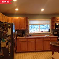 kitchen colors with medium brown cabinets before and after brown kitchen gets a black and white
