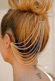 cuff earrings with chain hair accessory ear cuff earring cuff hair chain ear chain