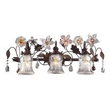 3 Fixture Bathroom by Cristallo Fiore 3 Light Floral Bathroom Vanity Lighting Fixture