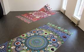 trippy kaleidoscopic installations mimic patterned textiles in an