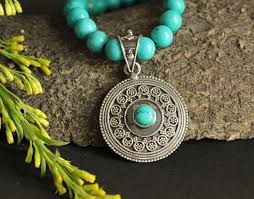turquoise necklace earring set images Artisan turquoise gemstone necklace pendant earring set at 4650 jpg