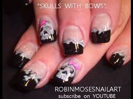2 nail art tutorials diy halloween nails skulls with bows