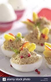 stuffed easter eggs easter eggs stuffed with tuna paste stock photo 41803331 alamy