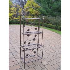 Metal And Wood Bakers Rack Cast Iron Bakers Rack With Grape Vine Design In Antique Bronze