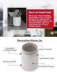 amazon com wide mouth mason jar utensil holder by comfify