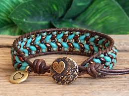 beaded leather cuff bracelet images Turquoise and bronze super duo seed bead leather cuff bracelet n%3D1