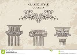 antique and baroque classic style column vector set vintage