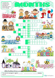 months crossword english for children pinterest crossword