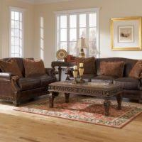 living room brown leather sofas with double backrest and armrest